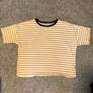 Yellow and white striped crop top